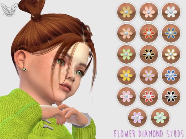 Giulietta Sims Enamel Overlay Diamond Toddler Studs