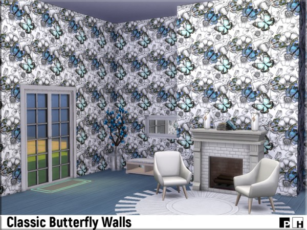 The Sims Resource: Classic Butterfly Walls by Pinkfizzzzz