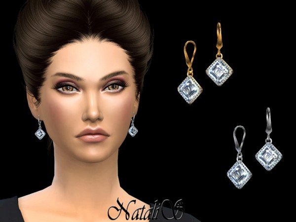 The Sims Resource: Asscher cut diamond earrings pave by NataliS