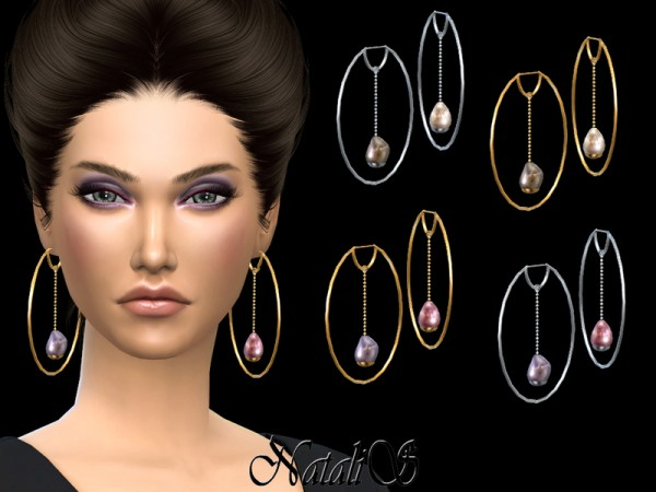 The Sims Resource: Baroque pearl hoop earrings by NataliS