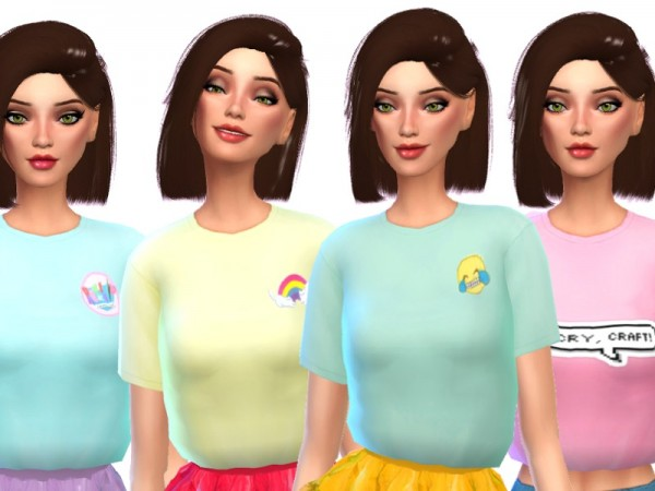 The Sims Resource: Trendy Cropped Tees Pack Two by Wicked Kittie