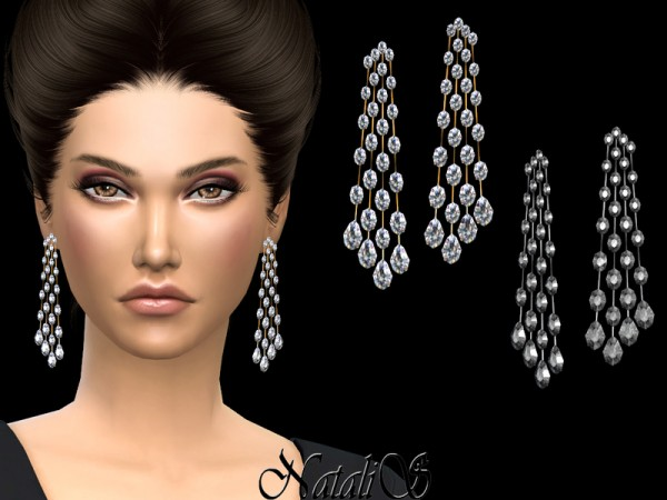 The Sims Resource: Oval and pear diamond chandelier earrings by NataliS