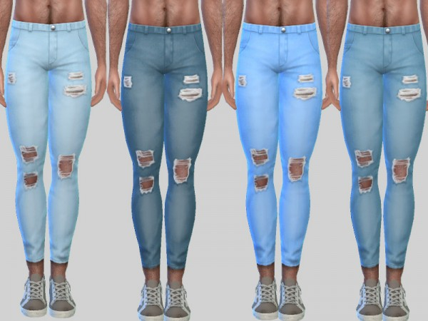 The Sims Resource: Ripped Denim Jeans Zack 010 by Pinkzombiecupcakes