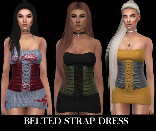Leo 4 Sims: Belted strap dress