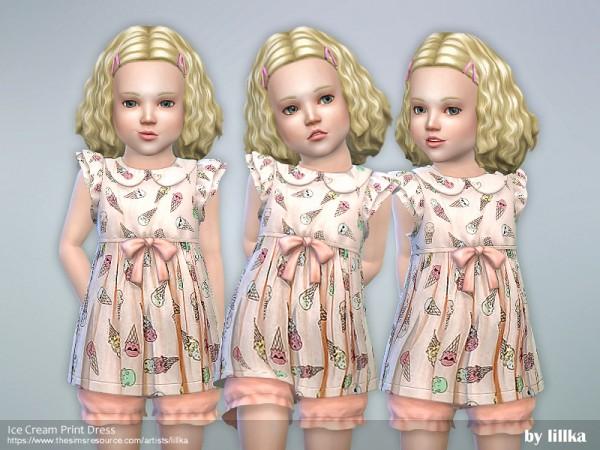 The Sims Resource: Ice Cream Print Dress by lillka