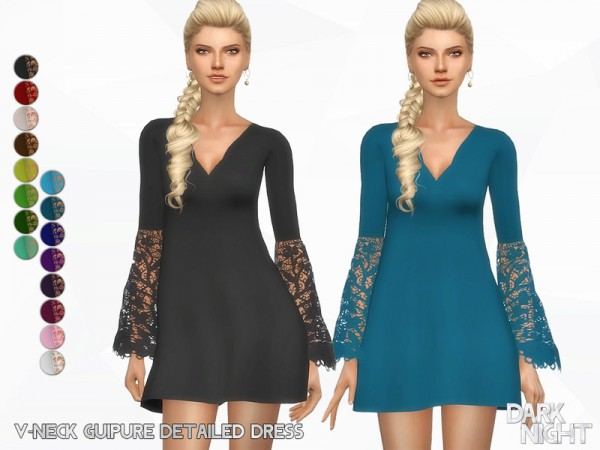The Sims Resource: V Neck Guipure Detailed Dress by DarkNighTt