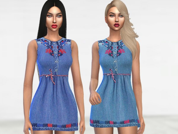 The Sims Resource: Embroidered Denim Dress by Puresim