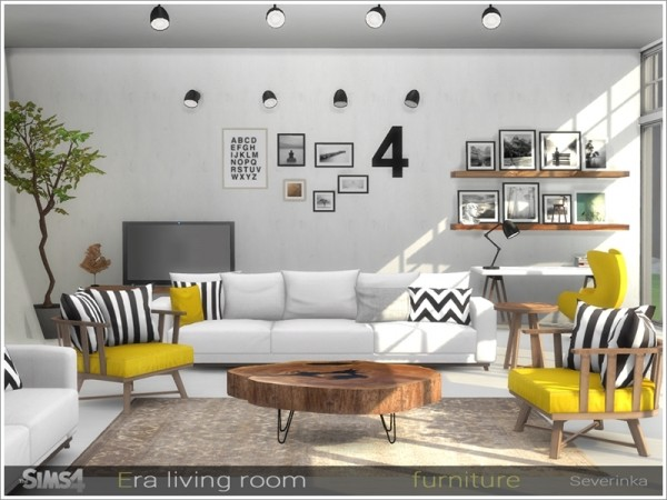 The sims resource era livingroom furniture by severinka for Modern living room sims 4