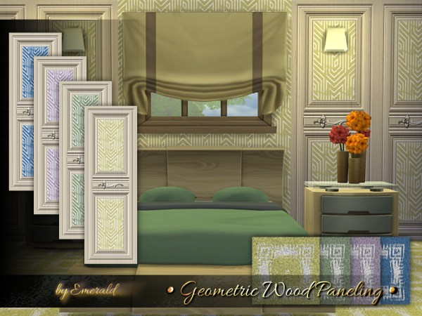 The Sims Resource: Geometric Wood Paneling by emerald