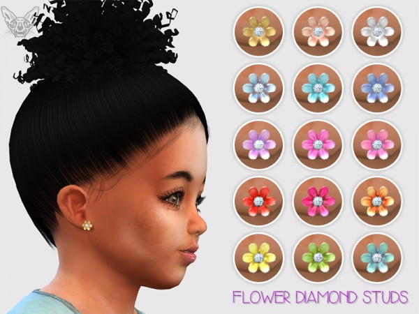 Giulietta Sims Flower Diamond Toddler Earrings Sims 4