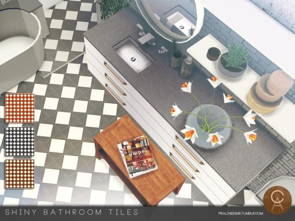 The Sims Resource: Shiny Bathroom Tiles by Pralinesims