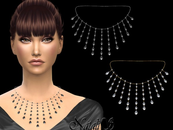 The Sims Resource: Oval and pear diamond necklace by NataliS