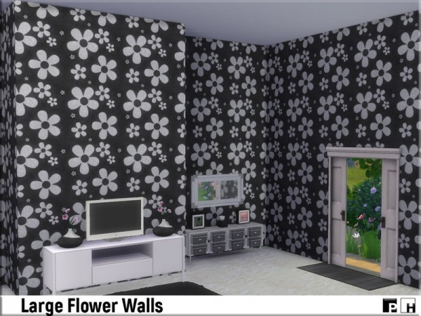 The Sims Resource: Large Flower Walls by Pinkfizzzzz