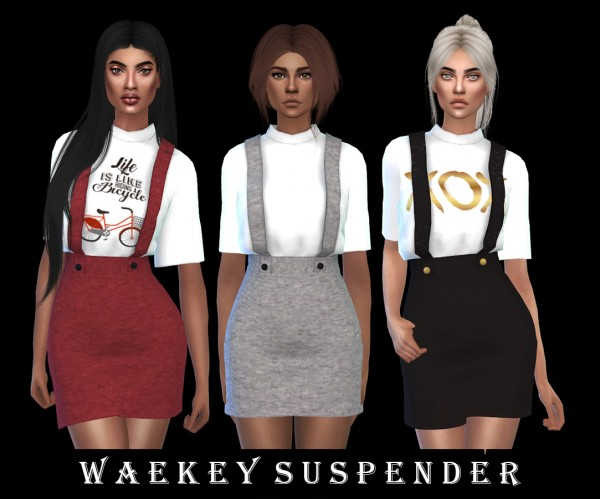 Leo 4 Sims: Waekey suspender outfit recolored