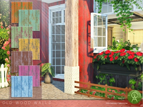 The Sims Resource: Old Wood Walls by Pralinesims