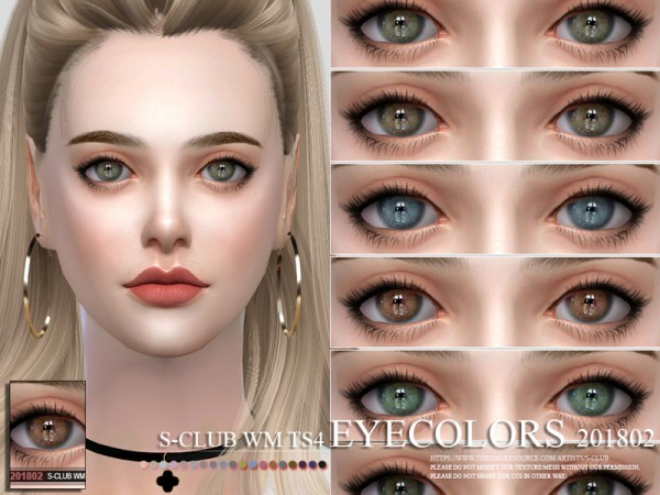The Sims Resource: Eyecolors 201802 by S Club