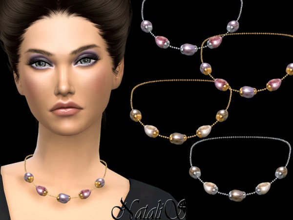 The Sims Resource: Baroque pearl chain necklace by NataliS