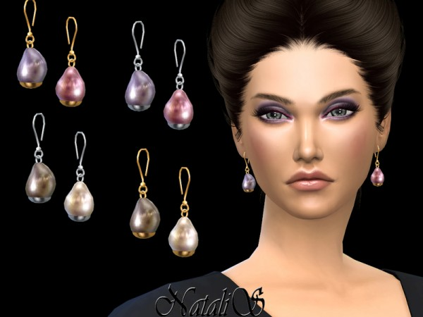 The Sims Resource: Baroque pearl drop earrings by NataliS