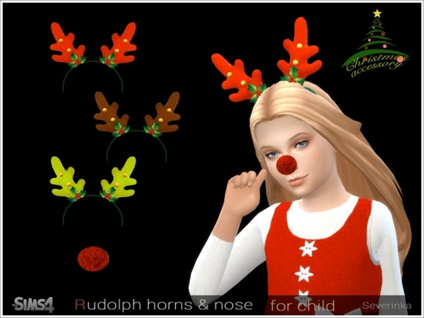 The Sims Resource: Rudolph horns and nose by Severinka