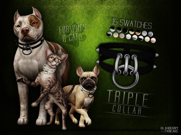 The Sims Resource: Triple Collar for Cats and Dogs by Blahberry Pancake