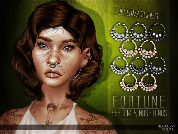 The Sims Resource: Fortune Septum and Nose Rings by Blahberry Pancake