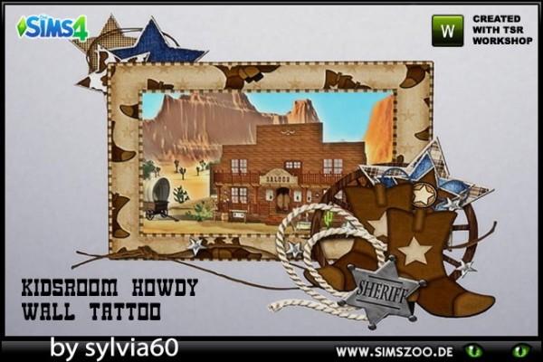 Blackys Sims 4 Zoo: Howdy Wall Tattoo by sylvia60