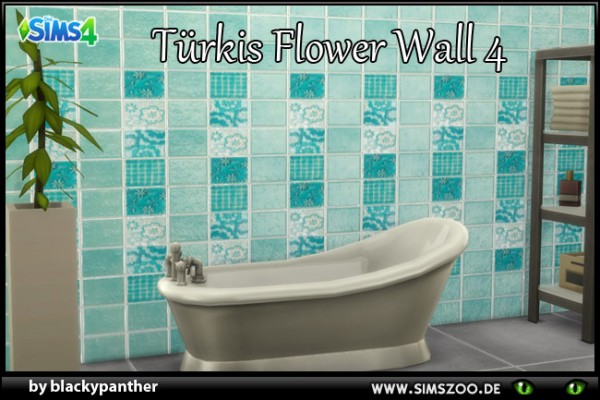 Blackys Sims 4 Zoo: Tuerkis Flower 4 walls by blackypanther