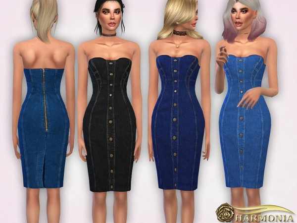 The Sims Resource: Strapless Denim Midi Dress by Harmonia