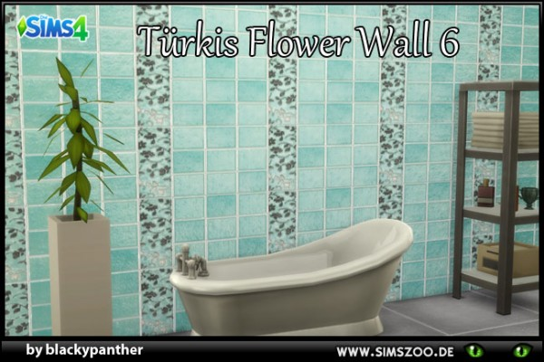 Blackys Sims 4 Zoo: Tuerkis Flower 6  walls by blackypanther