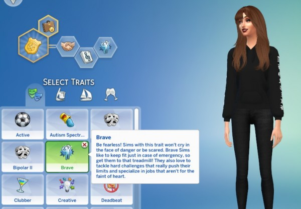 Mod The Sims: Brave Trait by GoBananas