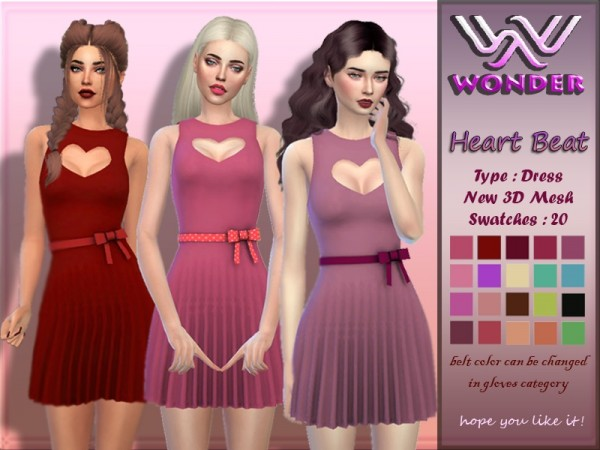 The Sims Resource: Heart Beat Dress by Wonder Sims