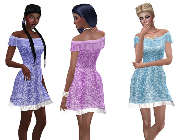 The Sims Resource: Short chiffon dress by Simalicious