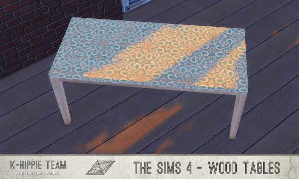 Simsworkshop: 7 Simple All Wood Tables sets 1 and 2
