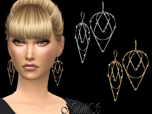 The Sims Resource: Three Tier Diamond Earrings by NataliS