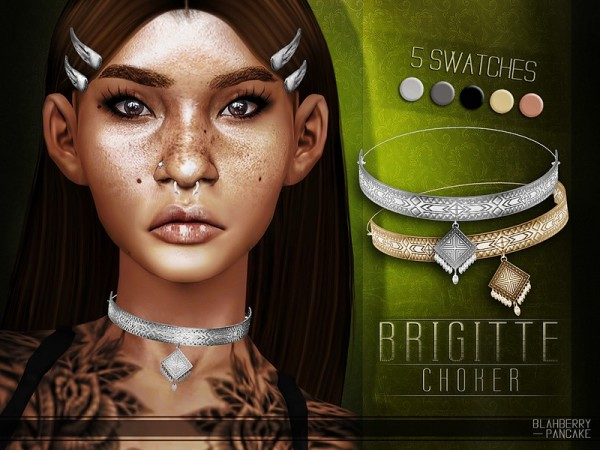 The Sims Resource: Brigitte Choker by Blahberry Pancake