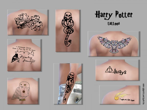 The Sims Resource: Harry Potter Tattoos by Suzue