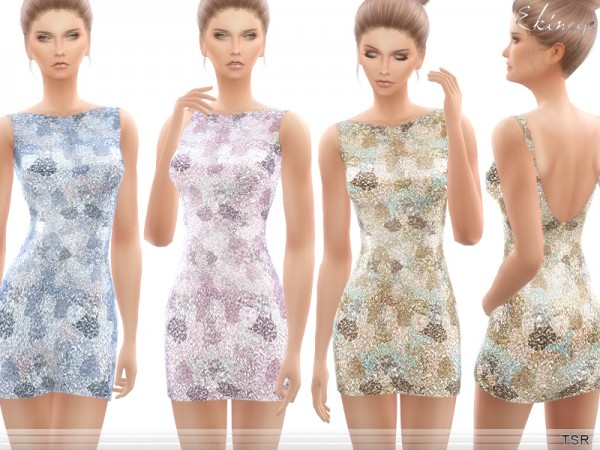 The Sims Resource: All Over Sequin Dress by ekinege