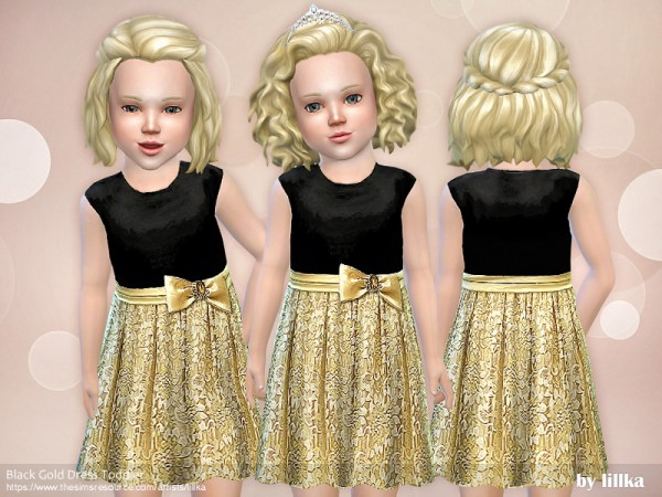 The Sims Resource: Black Gold Dress Toddler by lillka