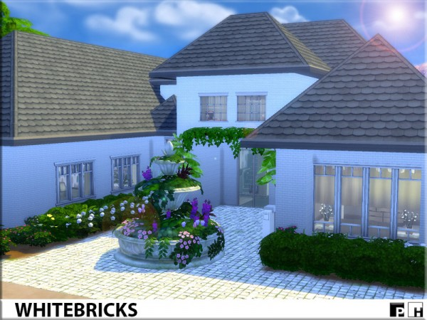The Sims Resource: White Bricks house by Pinkfizzzzz