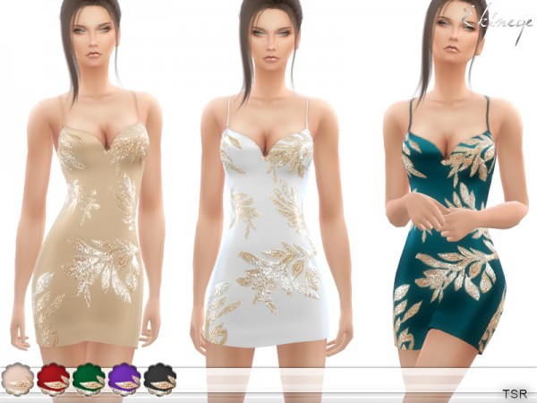 The Sims Resource: Gold Sequin Leaf Dress by Ekinege