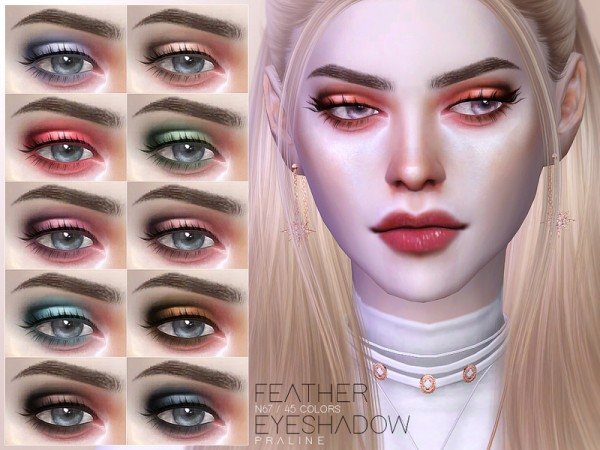 The Sims Resource: Feather Eyeshadow N67 by Pralinesims