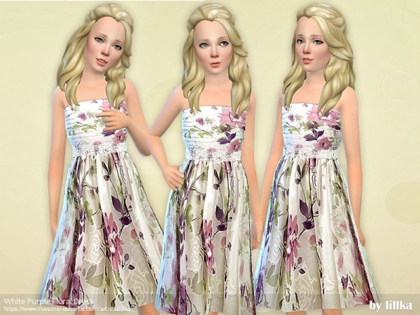 The Sims Resource: White Purple Floral Dress by lillka