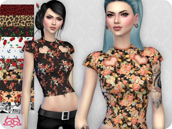 The Sims Resource: My love retro top by Colores Urbanos