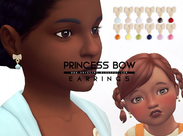 Onyx Sims: Princess bow earrings