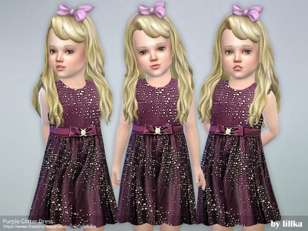The Sims Resource: Purple Glitter Dress by lillka
