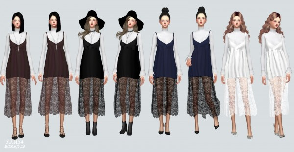 SIMS4 Marigold: Long Lace Bustier D With Turtleneck