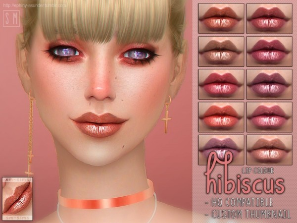 The Sims Resource: Hibiscus Lip Colour by Screaming Mustard