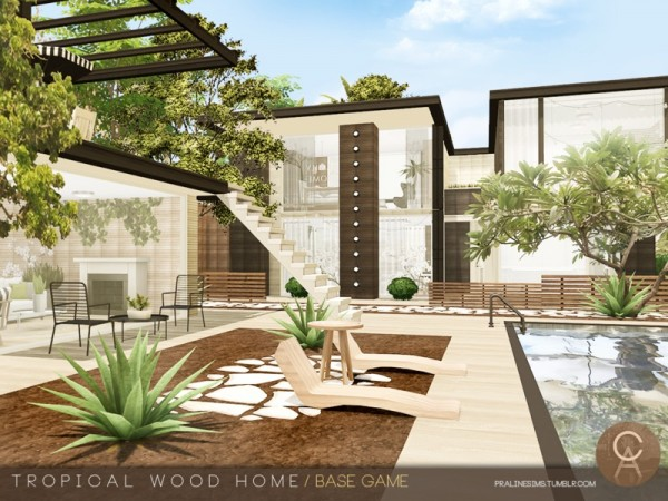 The Sims Resource: Tropical Wood Home by Pralinesims
