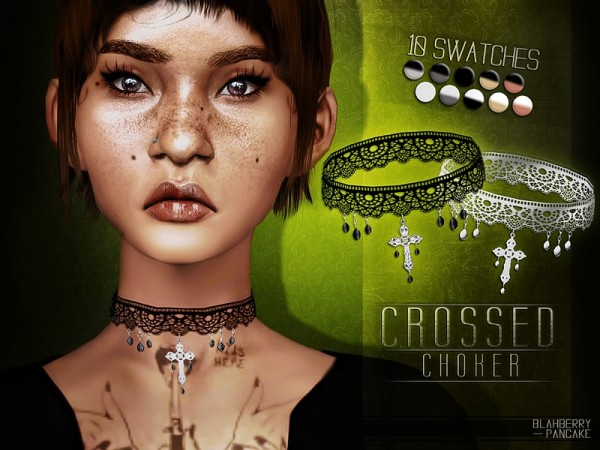 The Sims Resource: Crossed Choker by Blahberry Pancake