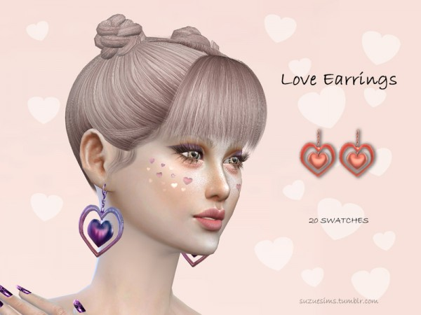 The Sims Resource: Love Earrings by Suzue